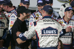 Victory lane: Jeff Gordon congratulates Chad Knaus