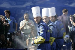 Petter Solberg, Chris Atkinson and Stephane Sarrazin cook for the press