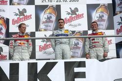 Championship podium: DTM 2005 champion Gary Paffett with Mattias Ekström and Tom Kristensen
