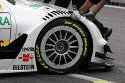 Wheel on the car of Jamie Green