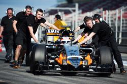 Nico Hulkenberg, Sahara Force India F1 VJM08 is pushed down the pit lane by mechanics