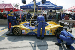 Pitstop for #8 B-K Motorsports Courage C-65 Mazda: Jamie Bach, Guy Cosmo, Elliott-Forbes Robinson
