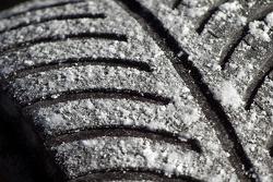 Salt cover the tires like snow