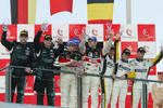 GT1 podium: class and overall winners Gabriele Gardel and Pedro Lamy, with Michael Bartels and Timo Scheider, and Bert Longin, Anthony Kumpen and Mike Hezemans