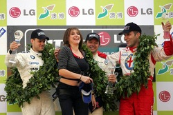 Championship podium: FIA World Touring Car 2005 champion Andy Priaulx with Dirk Muller and Fabrizio Giovanardi
