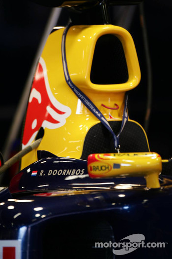Name of Robert Doornbos on the Red Bull Racing car