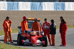 The Ferrari of Marc Gene stopped on the track