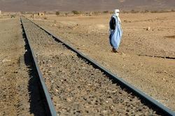 Railroad crossing in the desert