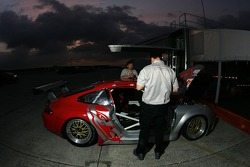 Flying Lizard Motorsports crew members at work