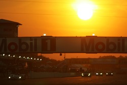 Race action in the sunset