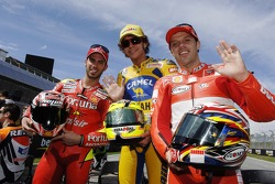 Marco Melandri, Valentino Rossi and Loris Capirossi