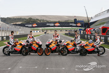 Repsol MotoGP, 250 and 125 riders photoshoot: Dani Pedrosa, Nicky Hayden, Sebastian Porto, Shuhei Aoyama and Bradley Smith