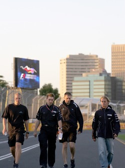 Nico Rosberg walks the track
