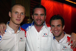 Alexandre Premat (FRA) A1 Team France, Chris Gorne (GBR) A1 Team France race engineer and Nicolas Lapierre (FRA) A1 Team France  A1 Grand Prix, Awards Dinner, Shanghai Hyatt, Shanghai, China