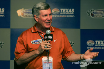 Mack Brown head coach of University of Texas football speaks during a press conference