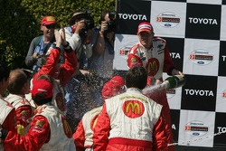 Podium: champagne shower