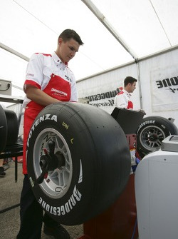 Bridgestone Engineers prepare tyres