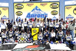 Victory lane: race winner Jimmie Johnson celebrates with his team