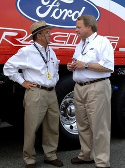 Edsel B.Ford II chats with Jack Roush in the garage area