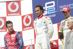 Lewis Hamilton 1st, Nicolas Lapierre 2nd, Jose Maria Lopez 3rd