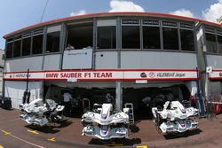 BMW-Sauber F1 team pit garages