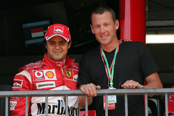 Lance Armstrong as a guest for Ferrari in the Ferrari garage and Felipe Massa
