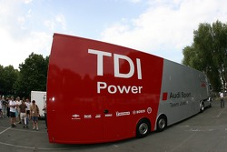 Audi Sport Team Joest transporter arrives at scrutineering