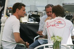 David Coulthard with his manager Martin Brundle and Christian Horner