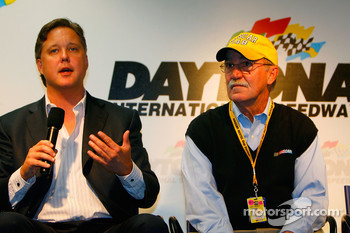 Brian France, NASCAR Chairman and CEO,  and Jim Hunter, Vice President of Corporte Communications, speak to the media