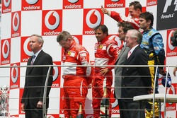 Podium: race winner Michael Schumacher with Felipe Massa and Giancarlo Fisichella