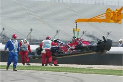 Car of Scott Speed is taken away after the crash at turn 1