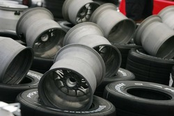 Wheel rims waiting to be fitted with Bridgestone tyres