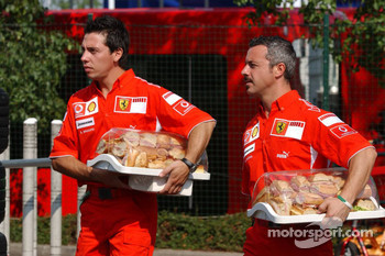 Ferrari catering with ham sandwiches