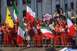 Ferrari team members celebrate
