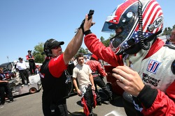 Pit crew challenge: Joey Hand celebrates after his run