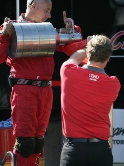Audi Sport North America crew member at work
