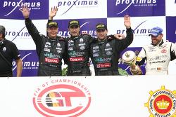 GT1 podium: overall and class winners Eric van de Poele, Michael Bartels and Andrea Bertolini celebrate