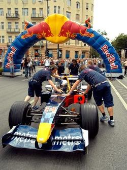 Running bulls rendez-vous in Budapest: Hungaroring-President Laszlo Palik in an RB2