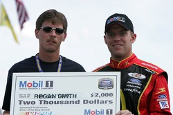 Regan Smith receives a check