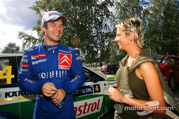 Sbastien Loeb with his wife