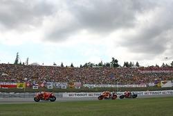 Marco Melandri leads a group of bikes