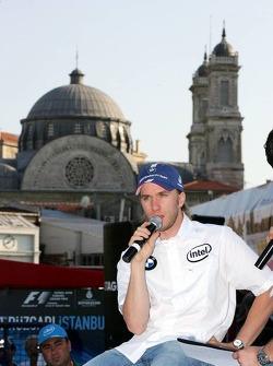 Intel event in downtown Istanbul: Nick Heidfeld sits in front of the Hagia Triada Greek Orthodox church
