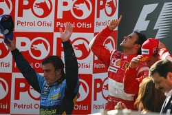 Podium: race winner Felipe Massa with Fernando Alonso