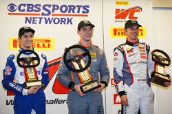 GTC winners podium: race winner Colin Thompson, second place Sloan Urry, third place Alec Udell