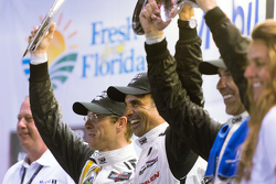 Overall podium: race winners Joao Barbosa, Christian Fittipaldi, Sébastien Bourdais, Action Express Racing