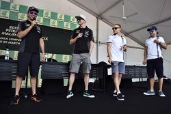 Sergio Perez, Sahara Force India F1 with team mate Nico Hulkenberg, Sahara Force India F1; Valtteri Bottas, Williams and Felipe Massa, Williams