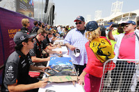 Sergio Perez and Nico Hulkenberg, Sahara Force India F1 sign autographs for the fans