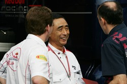 Hirohide Hamashima, Head of Bridgestone Tyre Development with Franz Tost, Scuderia Toro Rosso, Team Principal and  Christian Horner