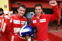 GT2 pole winners Nathan Kinch and Andrew Kirkaldy celebrate