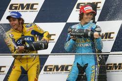Podium: champagne for Valentino Rossi and Chris Vermeulen